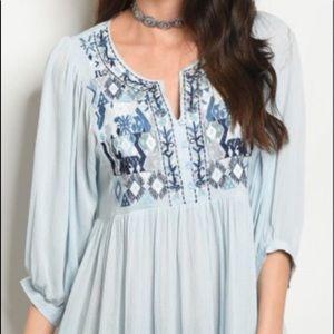 ☮️ Boho Embroidered tunic dress